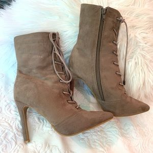 NWOT Suede Lace Up Stiletto High Leg Booties 7.5